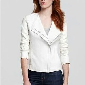 Vince white linen and leather moto jacket